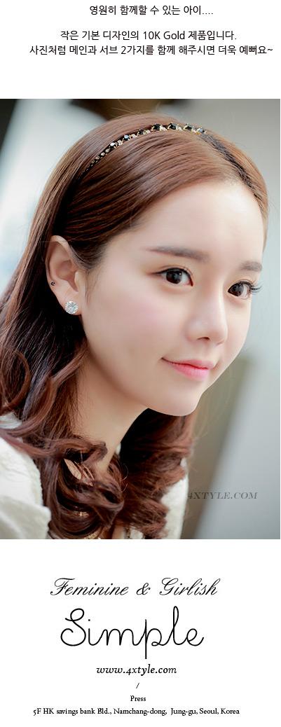 [낱개판매] 베이직 큐빅 귀걸이 - 폭스타일, 6,000원, 골드, 볼/미니귀걸이