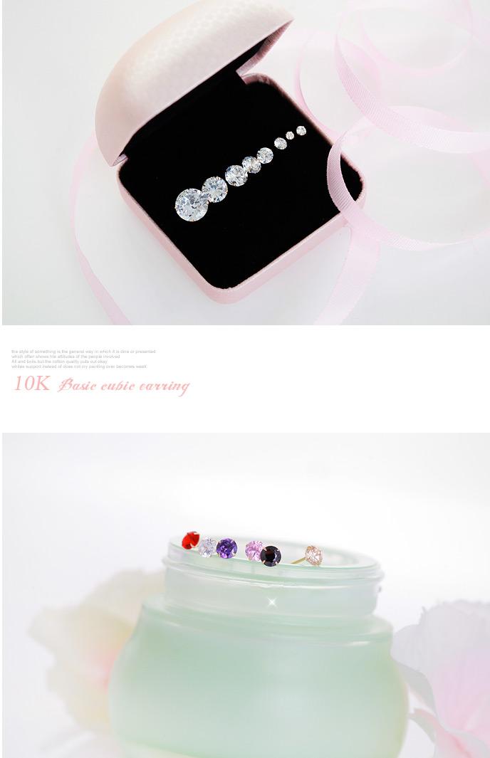 [낱개판매] 베이직 큐빅 귀걸이 - 폭스타일, 6,000원, 실버, 볼귀걸이