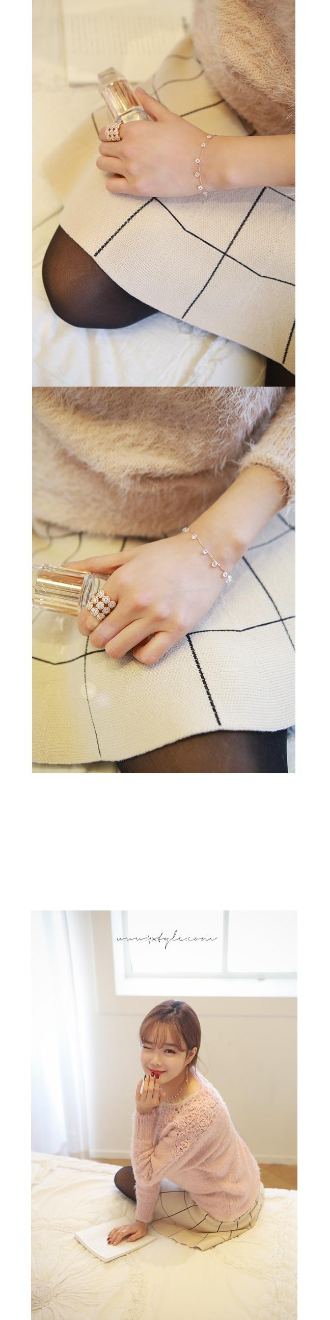 [ 4xtyle ] Crystal Bolero Silver Bracelet, 2 Colors