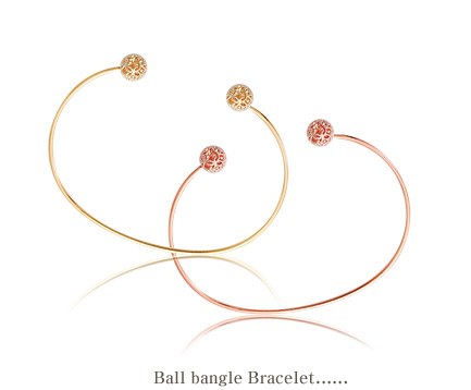 [ 4xtyle ] BALL BANGLE BRACELET(WHITEGOLD)