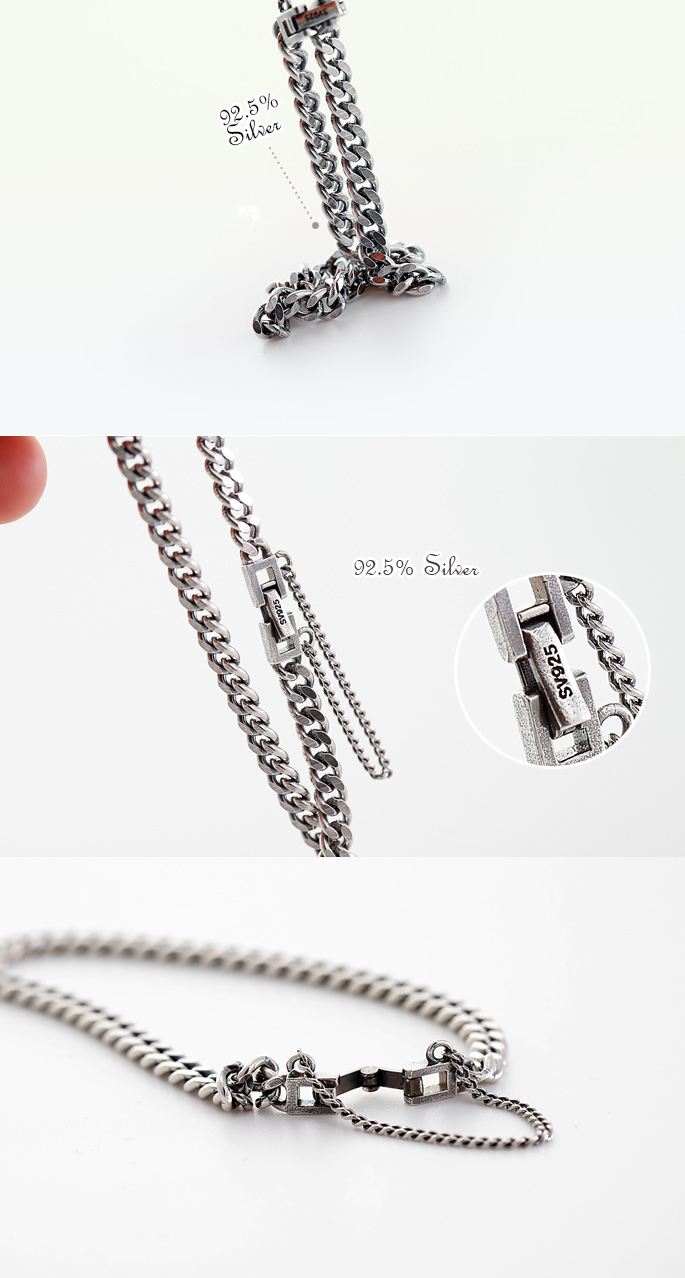 [ 4xtyle ] Antique Single Chain Silver Bracelet, One Color