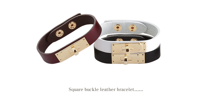 [ 4xtyle ] SQUARE BUCKLE LEATHER BRACELET