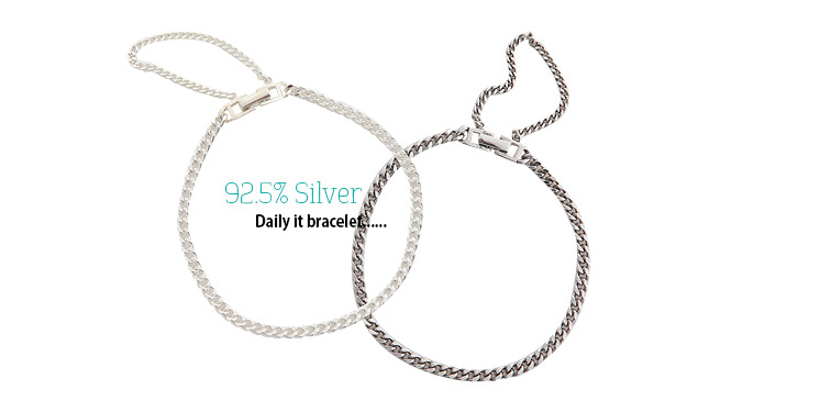 [ 4xtyle ] [SILVER] DAILY IT BRACELET (WHITE)