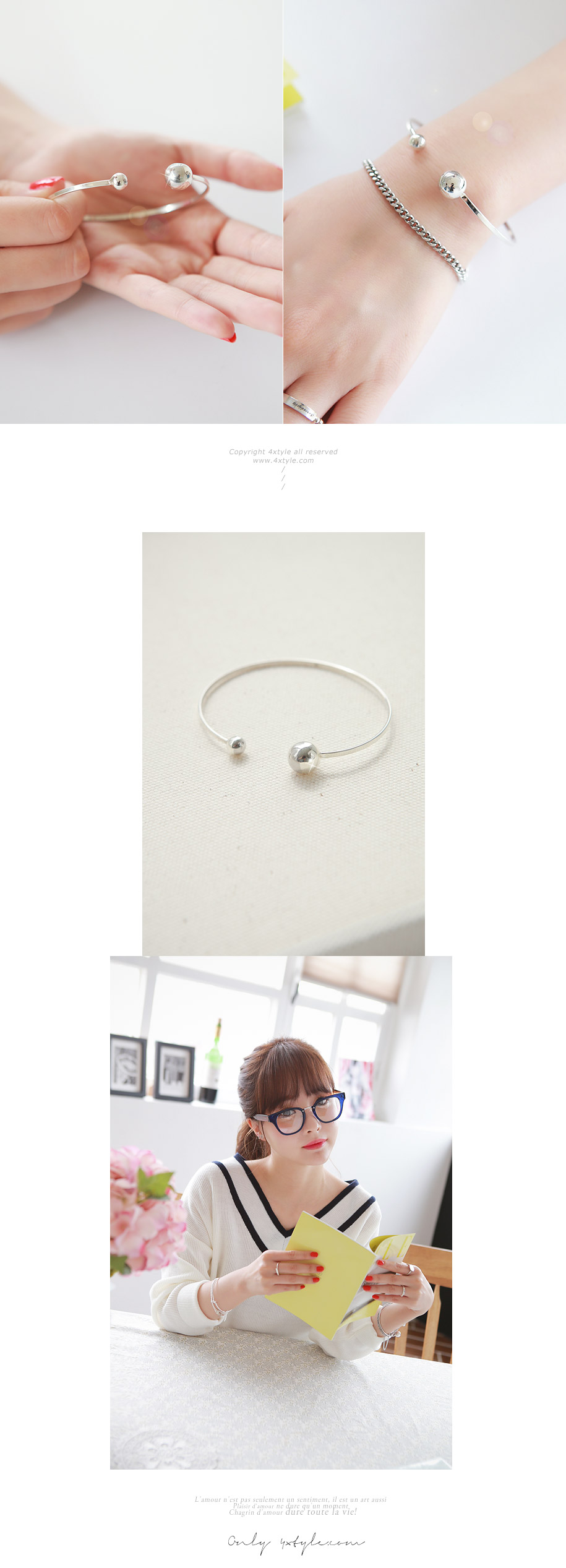 [ 4xtyle ] Double Ball Silver Bangle Bracelet, One Color