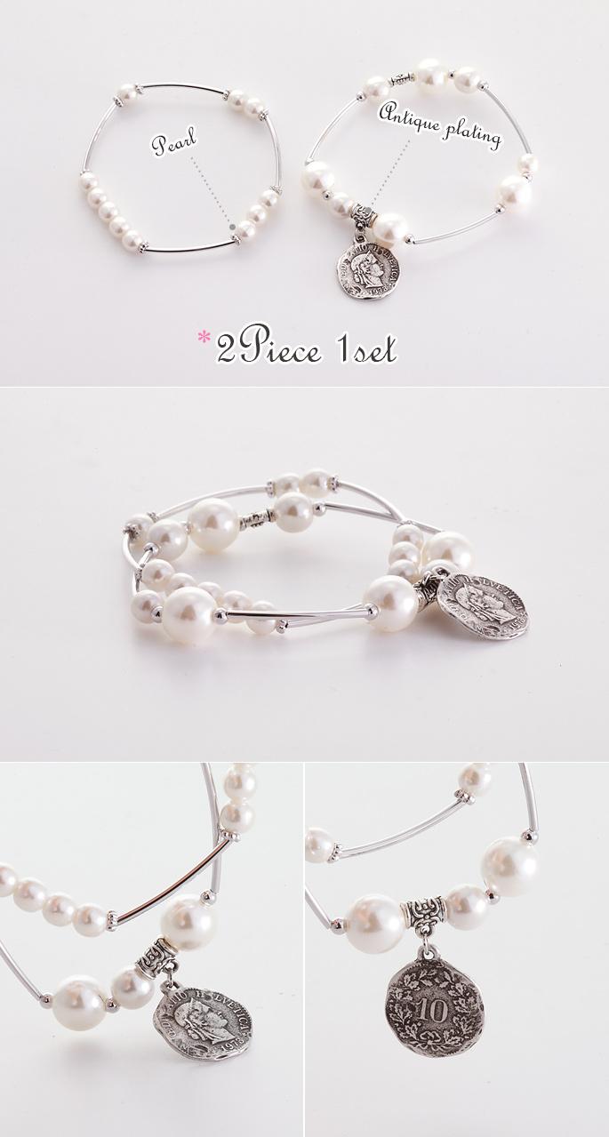 [ 4xtyle ] (2EA 1组)两次珍珠手镯
