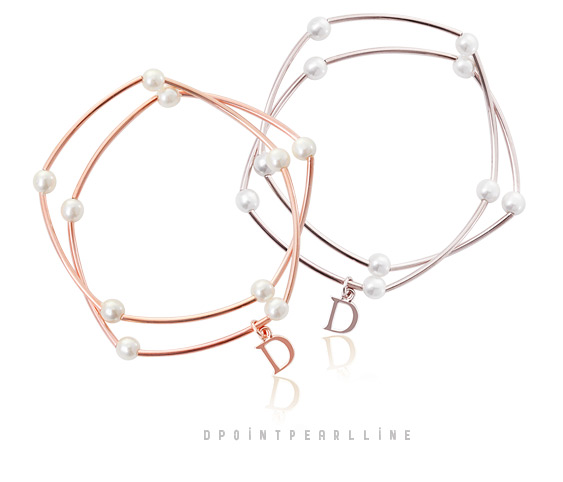 [ 4xtyle ] D-POINT PEARL LINE BRACELET