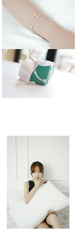 [ 4xtyle ] D-POINT PEARL LINE BRACELET