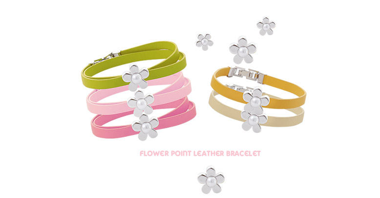 [ 4xtyle ] FLOWER POINT LEATHER BRACELET(2 LINE)