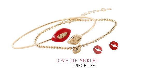 [ 4xtyle ] (2EA 1SET) LOVE LIP ANKLET