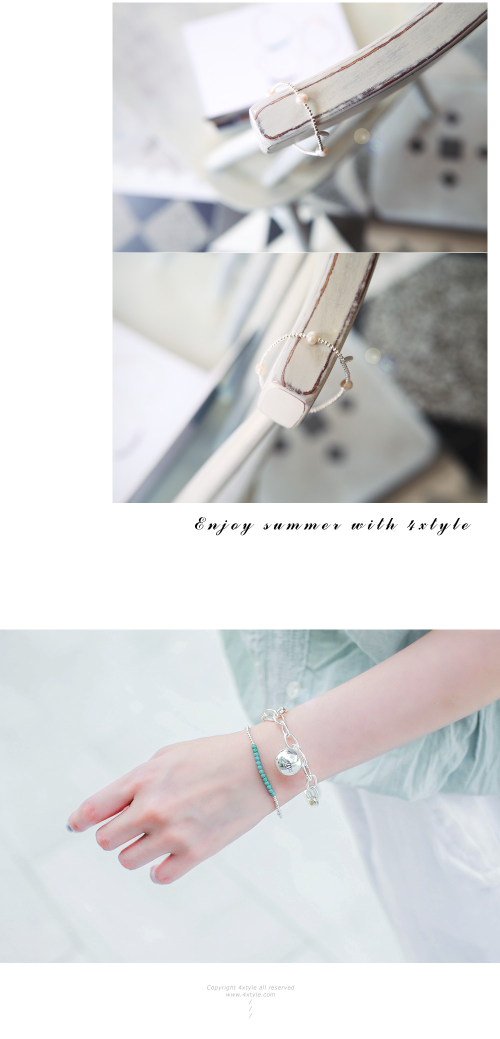 [ 4xtyle ] [SILVER] MINI MARY BALL BRACELET (2MM)
