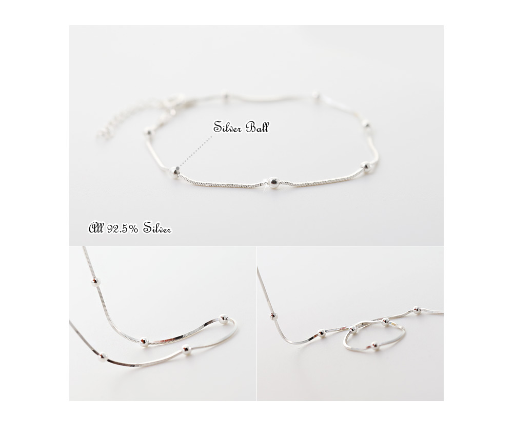 [ 4xtyle ] Milky Snake Silver Anklet, One color