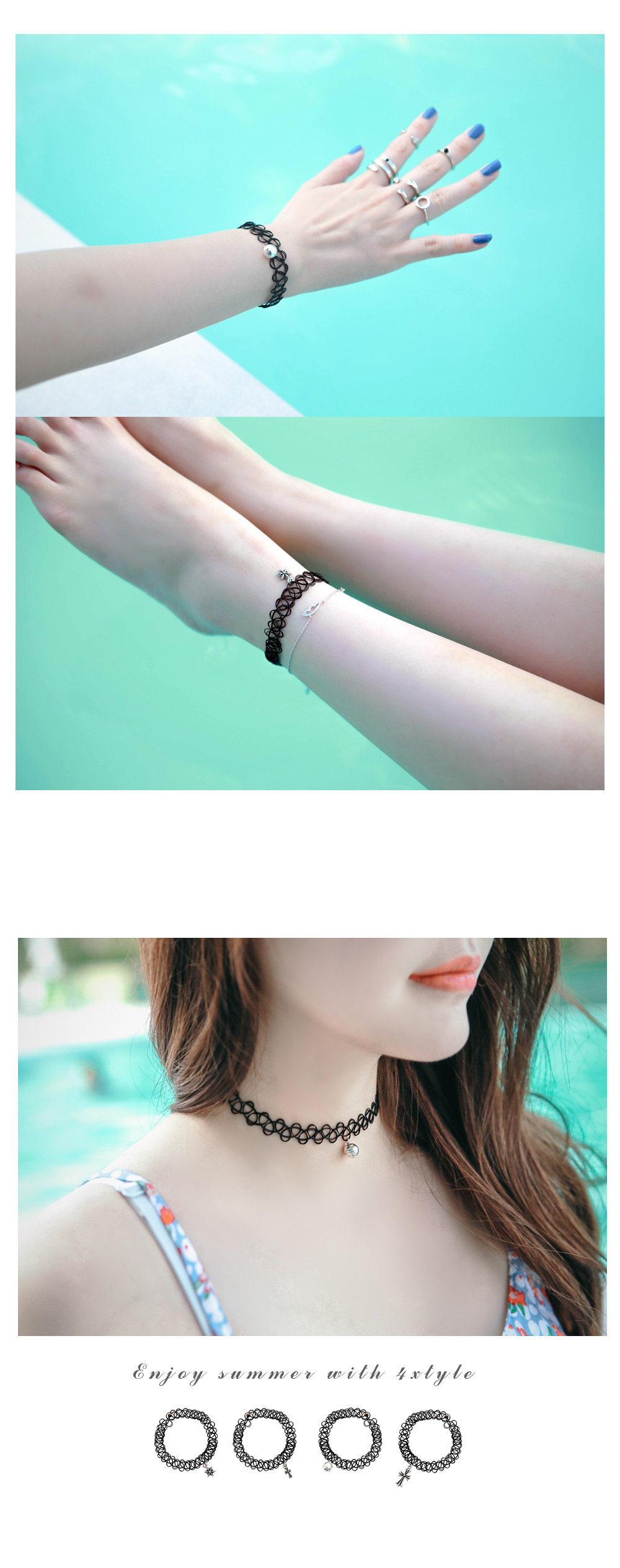 [ 4xtyle ] [SILVER] TATTOO CHOKER BRACELET (FLOWER/MINI CROSS)