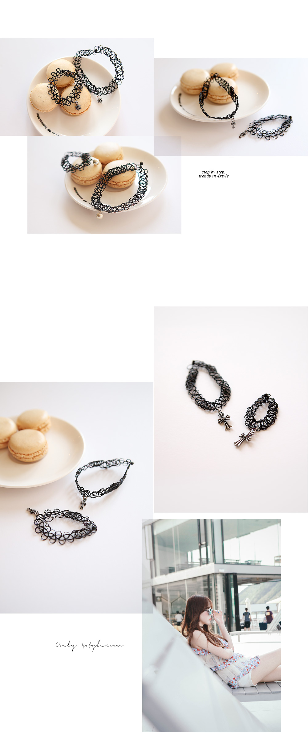 [ 4xtyle ] [SILVER] TATTOO CHOKER BRACELET (BIG CROSS)