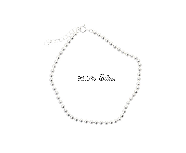 [ 4xtyle ] 3mm Ball Chain Silver Anklet, One color