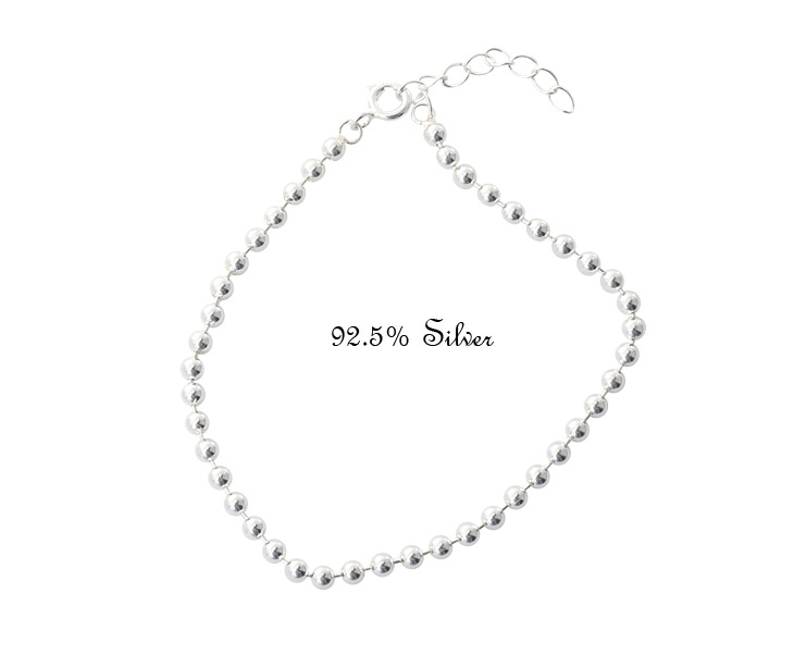 [ 4xtyle ] 3mm Ball Chain Silver Bracelet, One Color