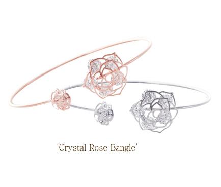 [ 4xtyle ] CRYSTAL ROSE BANGLE BRACELET