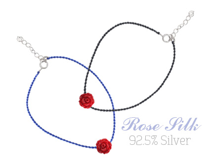 [ 4xtyle ] Rose Silk Chain Silver Bracelet, 2 Colors