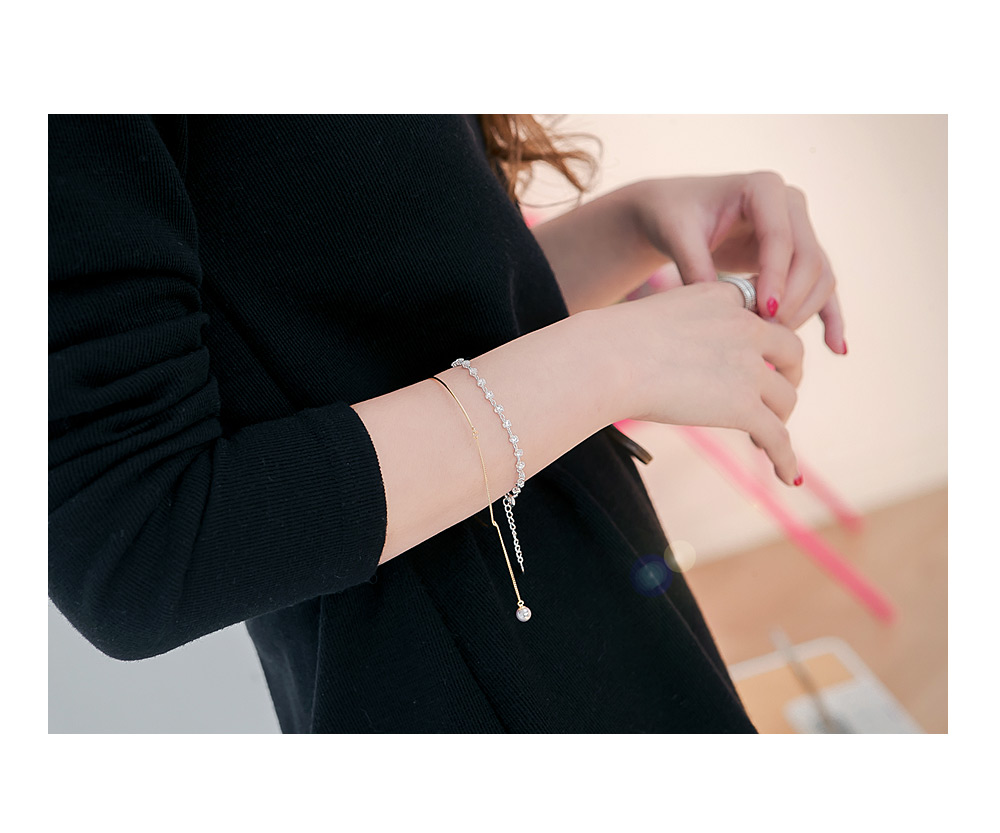 [ 4xtyle ] [SILVER] ROMANCE PEARL BRACELET(GOLD/ROSEGOLD)