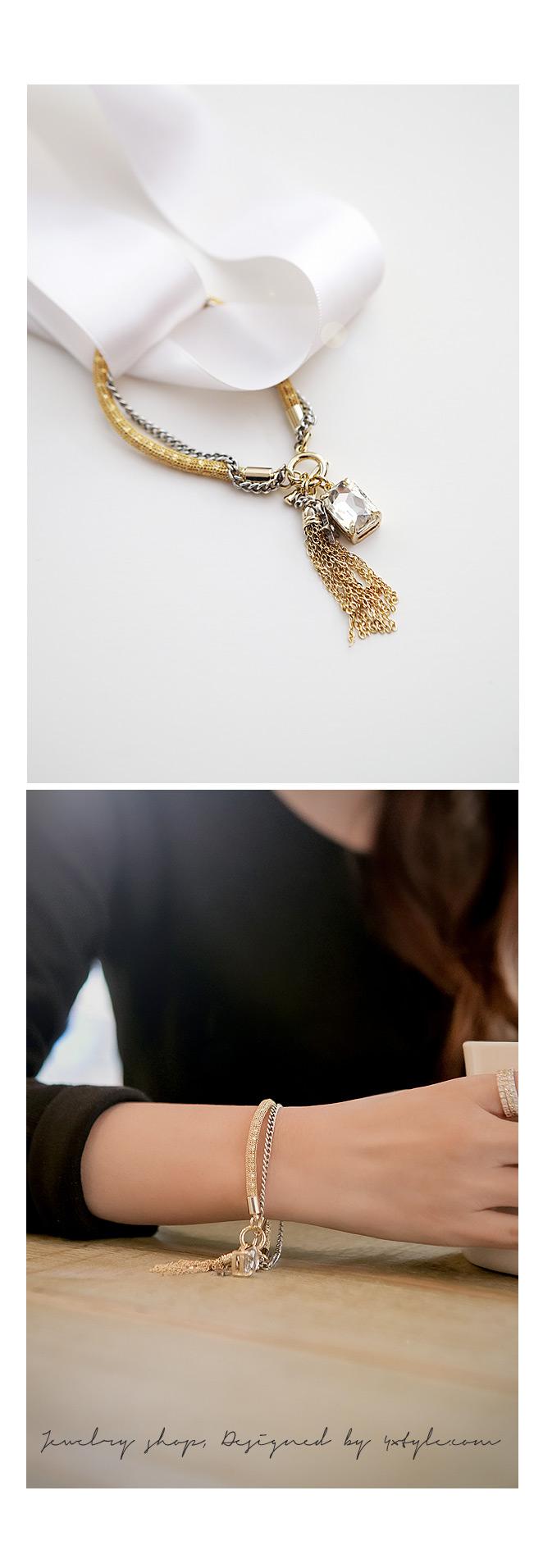 [ 4xtyle ] MIX CHAIN TASSEL BRACELET
