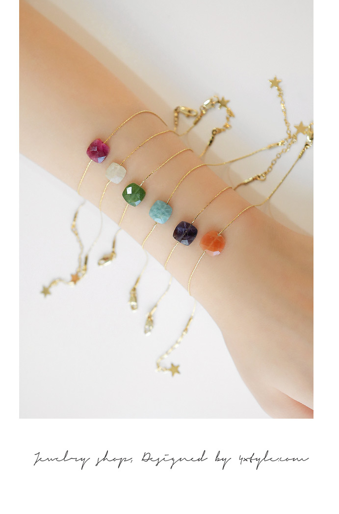 [ 4xtyle ] COLORFUL GEMSTONE SLIM BRACELET