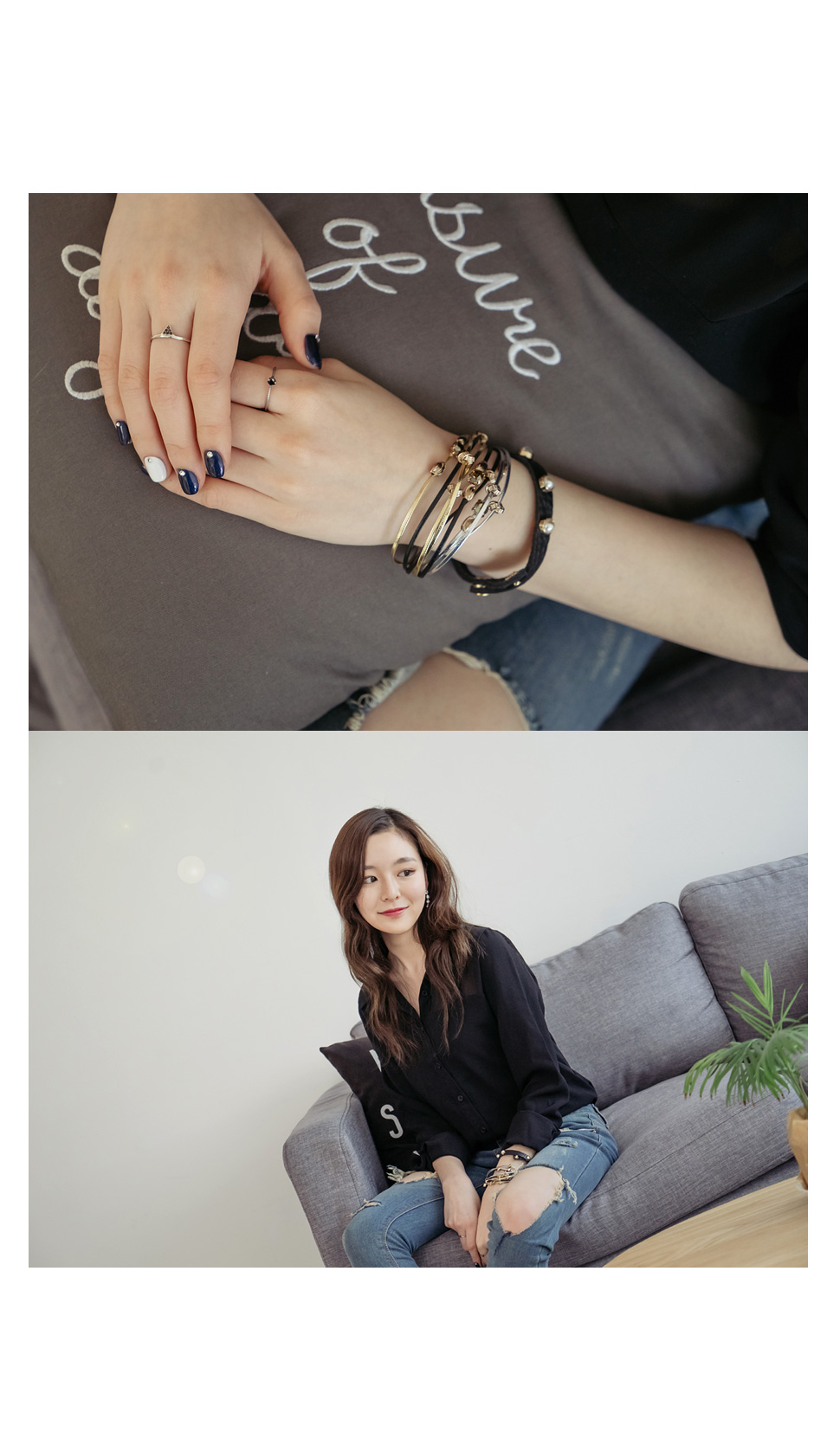 [ 4xtyle ] PEARL DECO LEATHER BRACELET