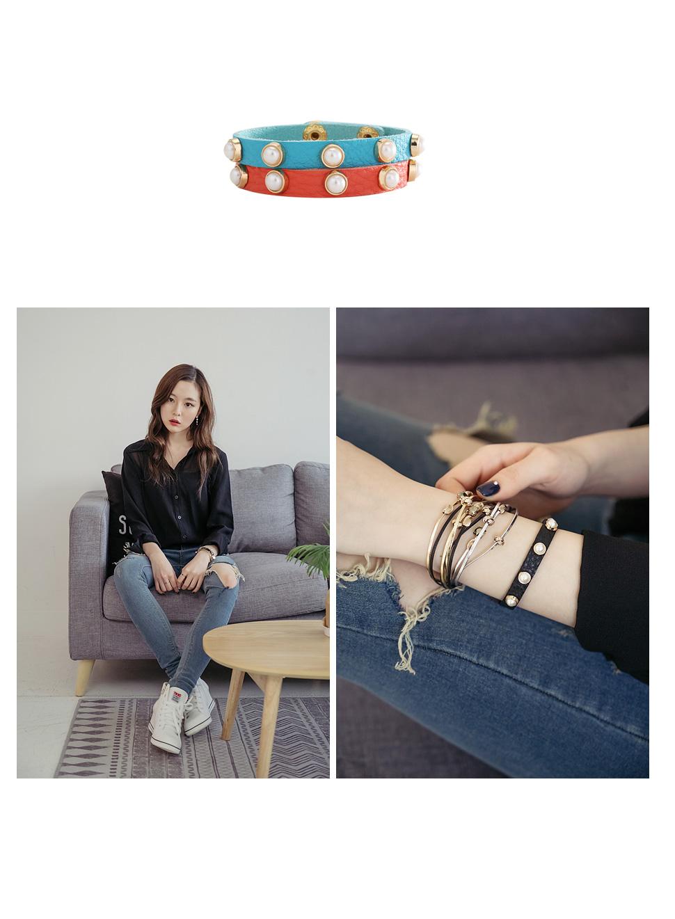 [ 4xtyle ] 珍珠装饰皮革手镯