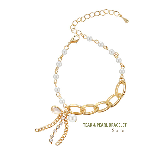[ 4xtyle ] TEAR AND PEARL BRACELET