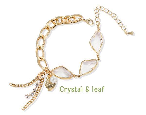 [ 4xtyle ] CRYSTAL AND LEAF BRACELET