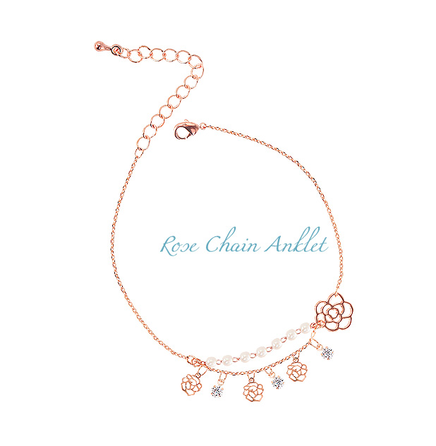 [ 4xtyle ] Rose Chain Anklet
