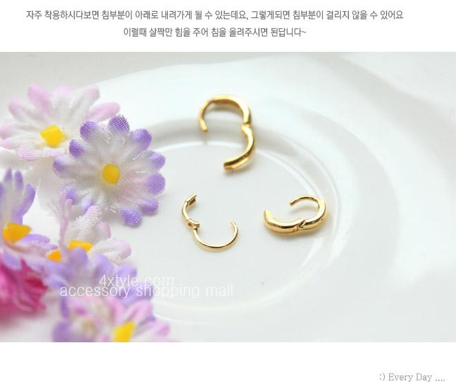 [낱개판매/10k] 미니멀 링 귀걸이 - 폭스타일, 4,500원, 골드, 링귀걸이