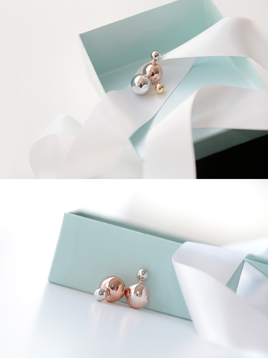 [ 4xtyle ] Twotone Shine Ball Earring, 2 Colors