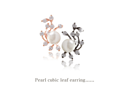 [ 4xtyle ] Pearl Cubic Leaf Earring, 3 Colors