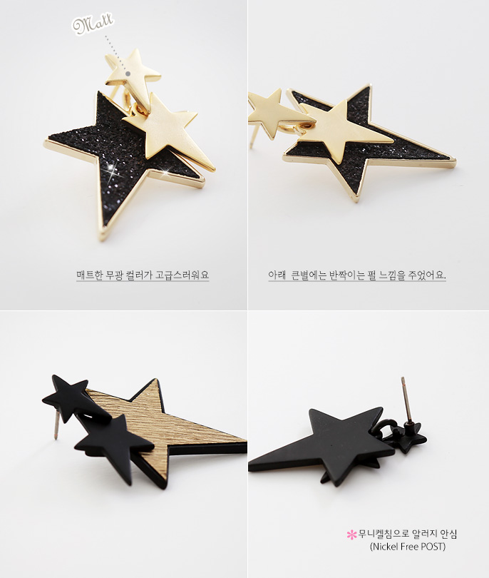 [ 4xtyle ] Triple Black Star Earring, 2 Colors