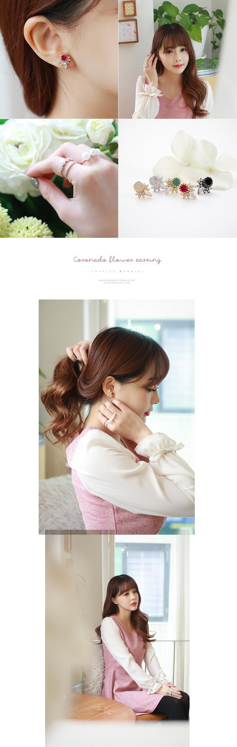 [ 4xtyle ] [SILVER] CORONADO FLOWER EARRING