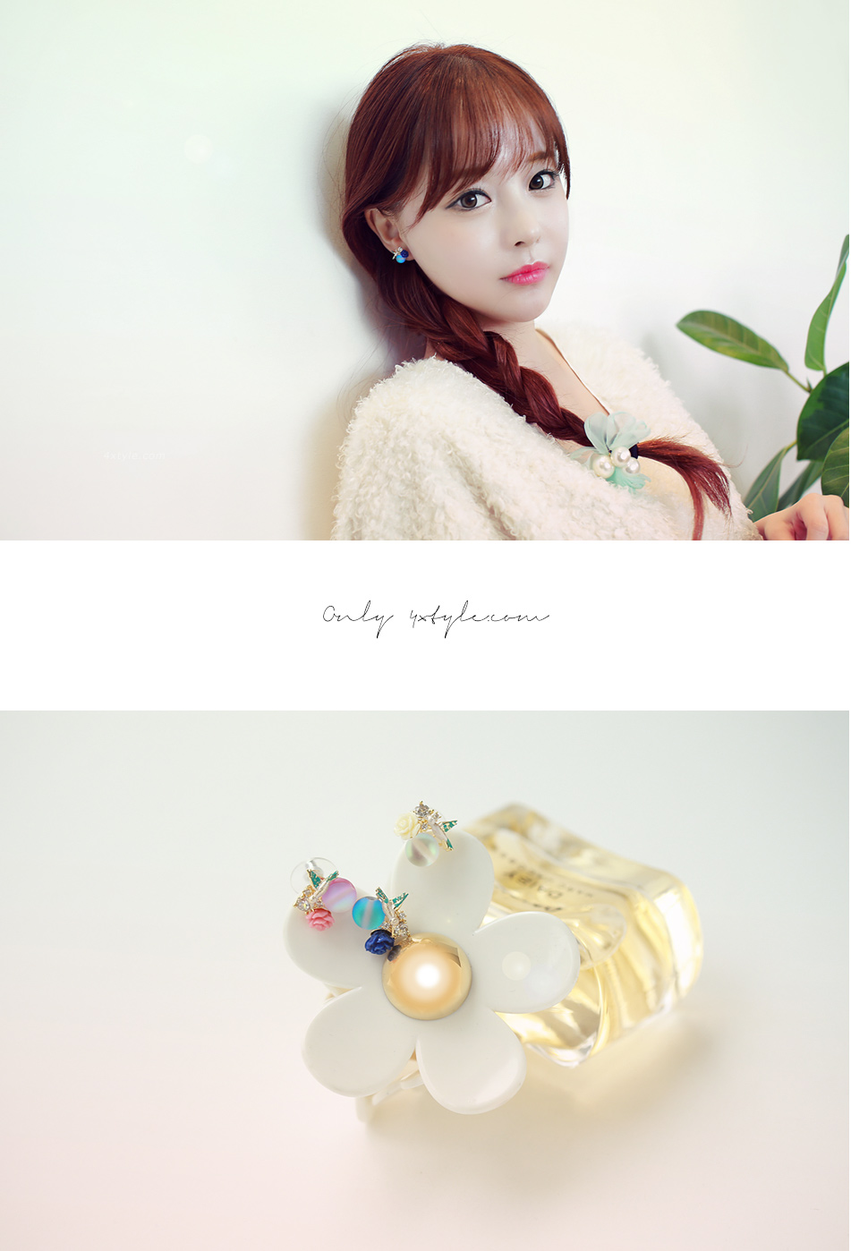 [ 4xtyle ] Crystal n Flower Earring, 3 Colors