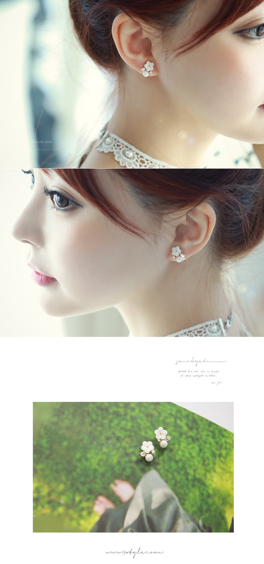 [ 4xtyle ] [SILVER] LOVING W FLOWER EARRING