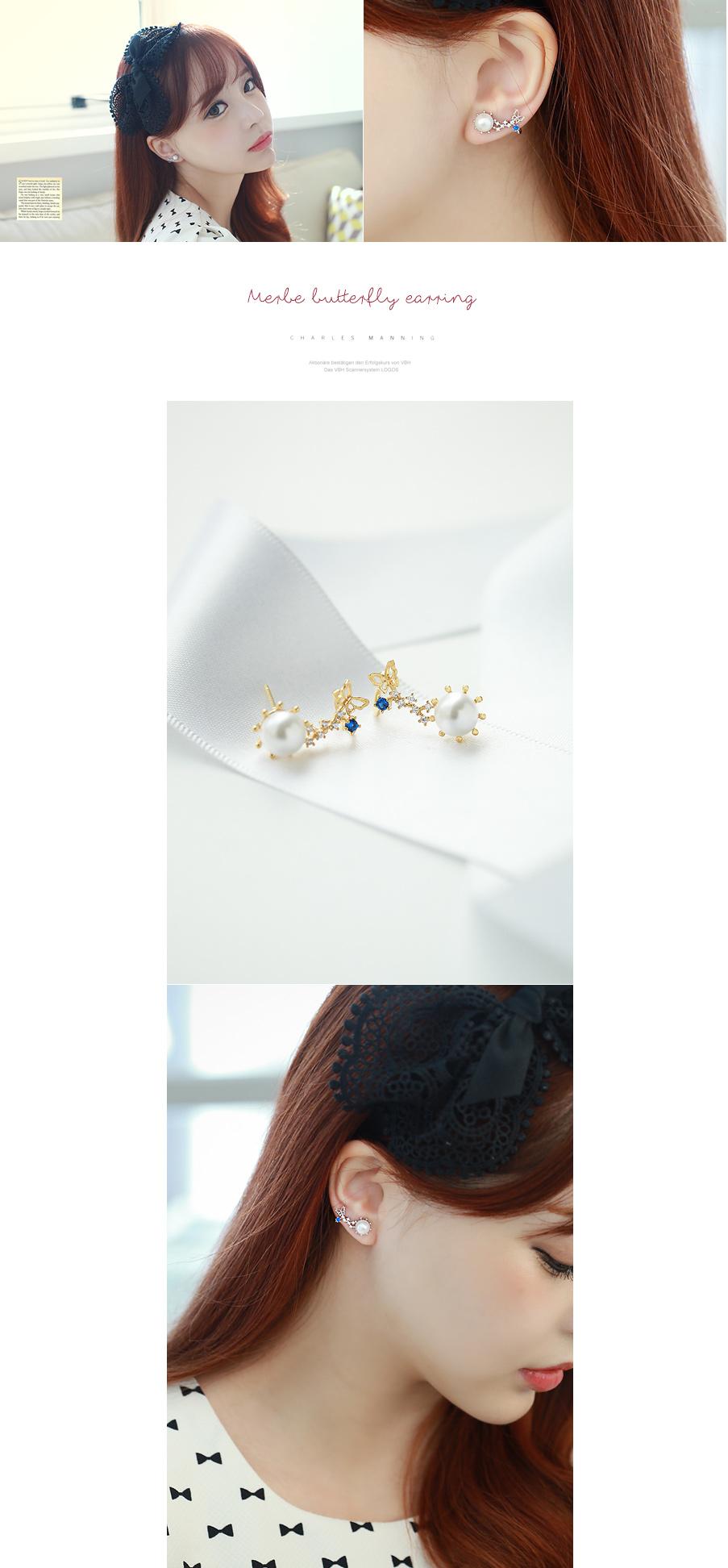 [ 4xtyle ] [银] MERBE 蝴蝶耳环(WHITEGOLD)