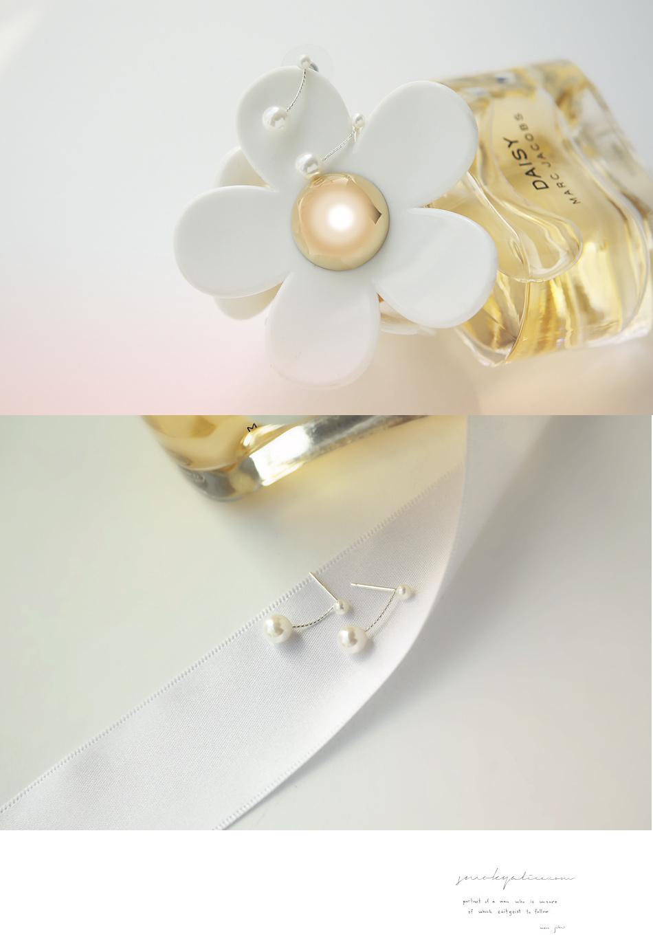 [ 4xtyle ] 纯双珍珠银耳环、一种颜色