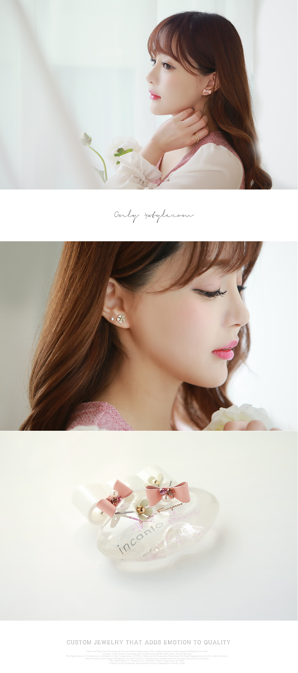 [ 4xtyle ] Ribbon N Flower 6 Piece Earring, 5 Colors