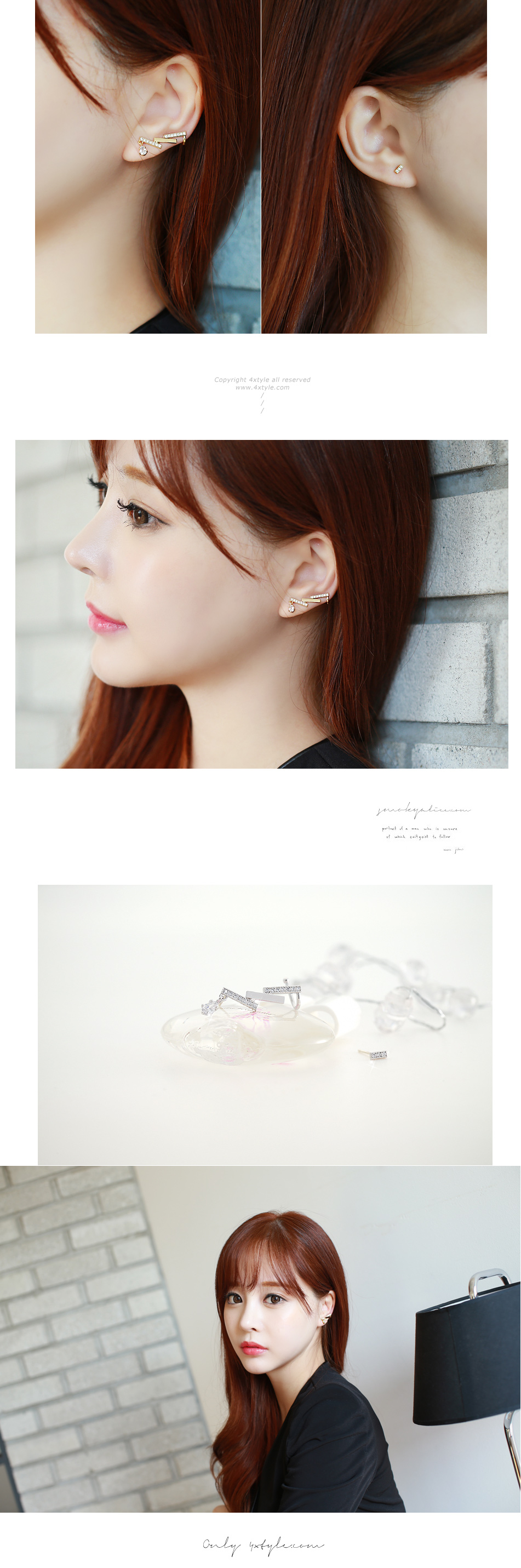 [ 4xtyle ] Unbalance Oblong Earring, 3 Colors