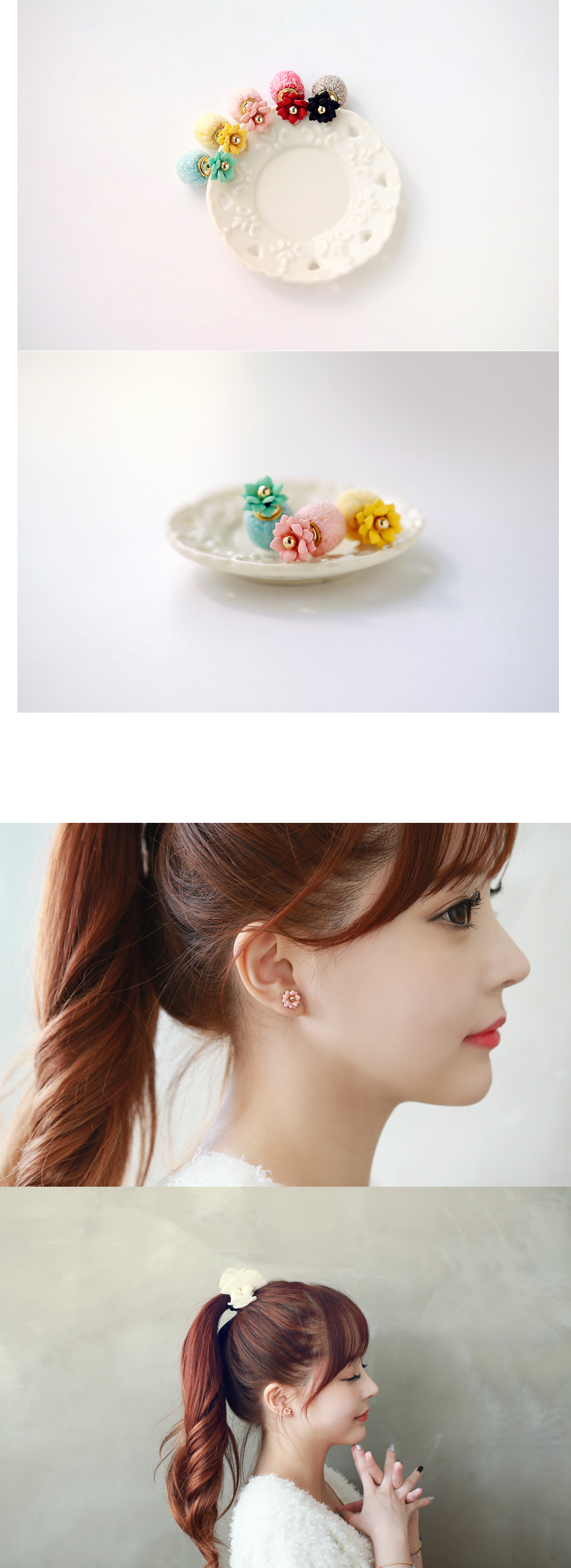 [ 4xtyle ] Flower Ball Earring, 5 Colors