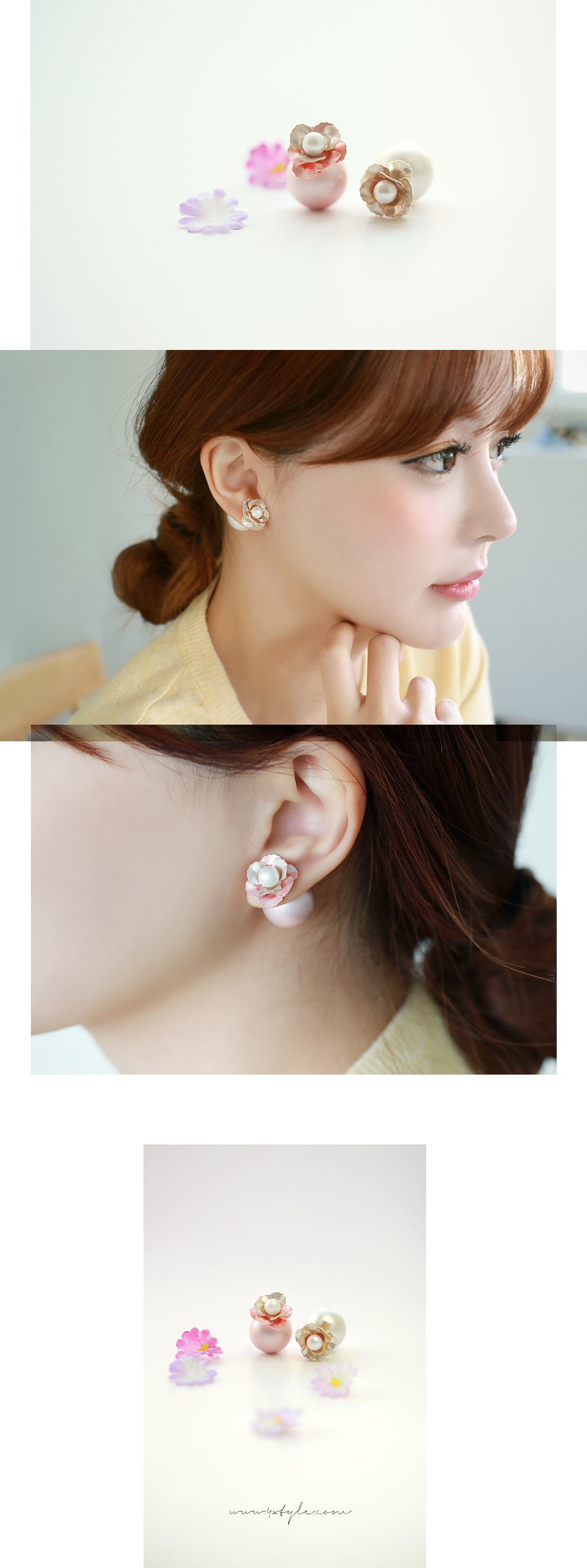 [ 4xtyle ] Flower Twomatch Earring, 2 Colors
