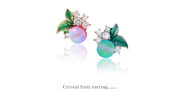 [ 4xtyle ] Crystal fruit Earring, 4 Colors