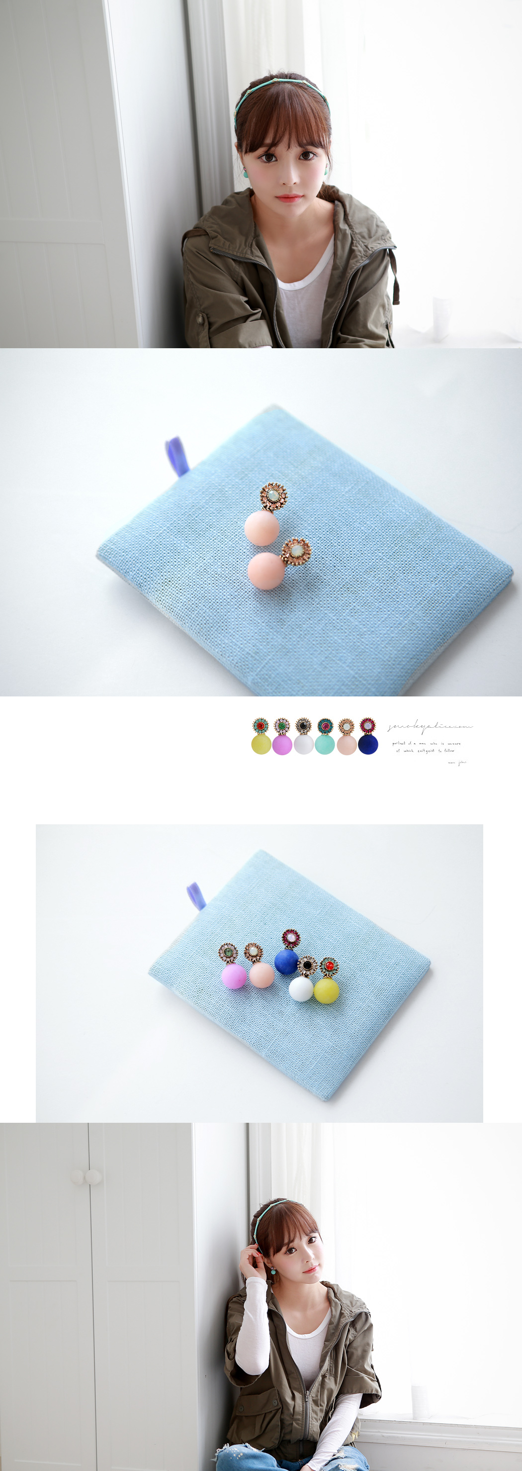 [ 4xtyle ] Agate Ball Earring, 6 Colors