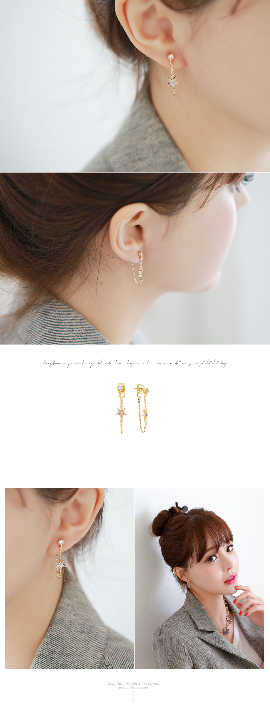 [ 4xtyle ] [SILVER] BABY STAR EARRING (WHITEGOLD)