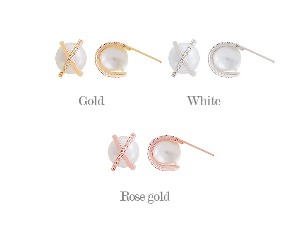[ 4xtyle ] [SILVER] X-POINT PEARIL EARRING (WHITEGOLD)