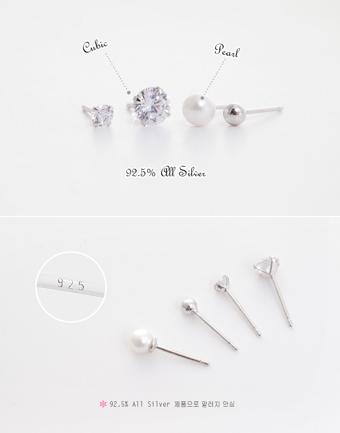 [ 4xtyle ] 4 Pieces Silver Earring Set