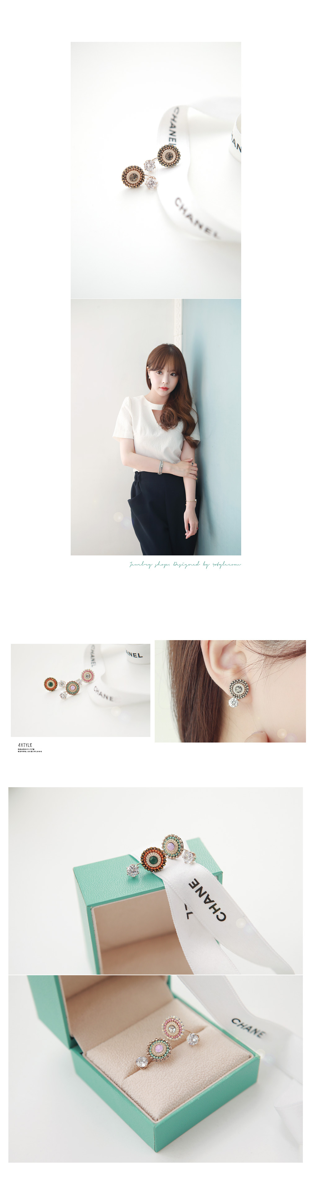 [ 4xtyle ] Flower Two Way Earring, 4 Colors