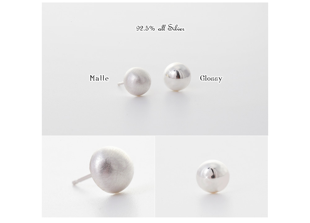 [ 4xtyle ] Half Circle Silver Earring, 2 Colors