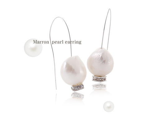 [ 4xtyle ] Marron Pearl Silver Earring, One Color